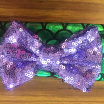 The Little Mermaid themed scale headband with sequin bow