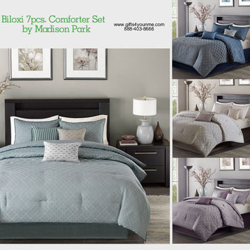 Madison Park Biloxi 7 Piece Comforter Set in Blue, Navy, Purple, Silver