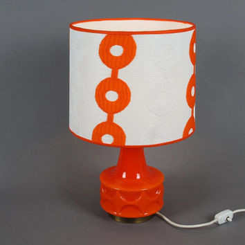 Table Lamp Retro 70s orange circles.