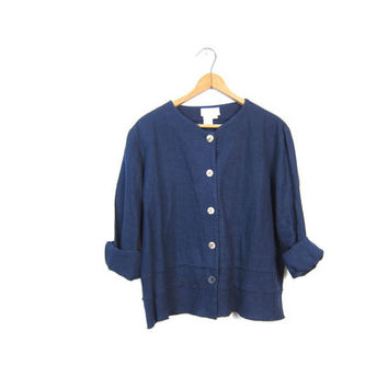 Navy Blue Linen Blouse Long Sleeve Rayon Button Up Minimal Boxy Top Basic Simple Modern Tee Vintage Womens Small