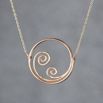 Copper Textured hammered ocean wave scroll circle pendant necklace Bridesmaids gifts Free US Shipping handmade Anni Designs