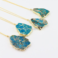 Sea Sediment Turquoise Blue Raw Shape Necklace | Druzy Necklace | Gold Plated Pendant | Turquoise Necklace | 20-24 Inches 18K Gold Plated
