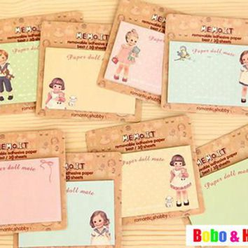 Fashion girl doll style notepad paper sticky message note Memo pad