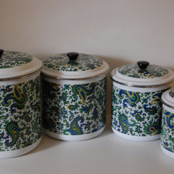 Vintage Enamelware Paisley Canisters ~  Set of Four ~ Avocado Green, Navy Blue, Yellow and White Canisters