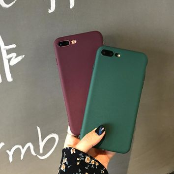 Back Matte Soft Silicon Case for iPhone 8 6 6S 7 8 Plus Candy Colors Full Cover For iPhone X 5 5S SE Case Phone Case TPU