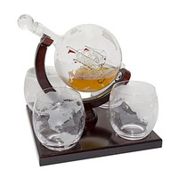 Etched Globe Whiskey Decanter Set -They Will Love this Gift!