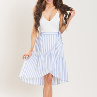 Karen Blue Striped Ruffle Wrap Skirt