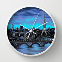 Eiffel Tower ~ Paris France Wall Clock by RokinRonda