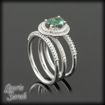 Natural Alexandrite, White Diamond Double Halo Ring with two Diamond Wedding Bands - LS765