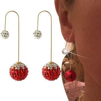 2016 New cc crystal brincos Double Side Pearl earring Rhinestone pearl jewelry long Stud Earrings For Women boucle d'oreille
