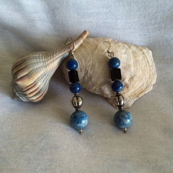 Black Onyx Blue Lapis Lazuli and Sterling Silver Earrings Modern Styled Earrings Long Drop Earrings Hand Made Beaded Gemstone Earrings