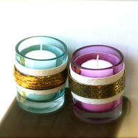Glass Candle Holders Votive or Tea Light Turquoise and Magenta with Metal Accents