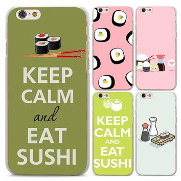 BiNFUL keep calm eat sushi Pattern Hard Clear Phone Cases Cover for Apple iPhone 6 6s 6Plus 7 8 7Plus X 5 5S 4S