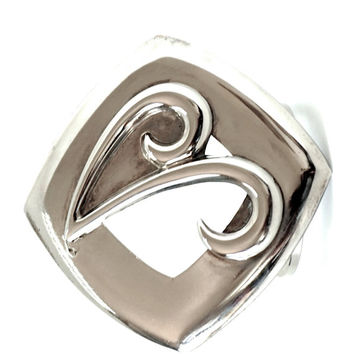 Vintage Scarf Clip,Silver Tone Scarf Holder,V Initial Scarf Slide,Scarf Jewelry,Square Scarf Ring,V Monogram Scarf Clip,Holiday Gift Idea,