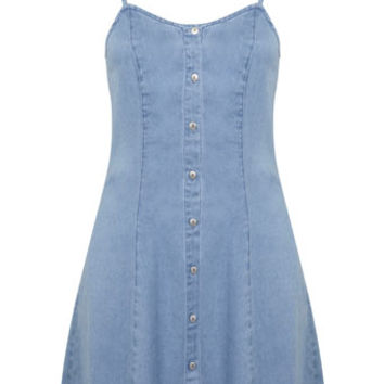 Button Through Denim Dress - Denim - Apparel