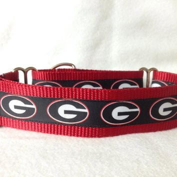 "Nylon w/University of Georgia Ribbon Leash, Martingale or Quick Release Collar Ribbon Collar 1"" Martingale 1.5"" Martingale"