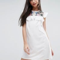 Boohoo Petite Embroidered Frill Edge Dress at asos.com