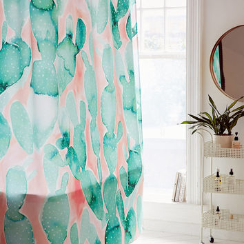 Jacqueline Maldonado For DENY Paddle Cactus Shower Curtain | Urban Outfitters