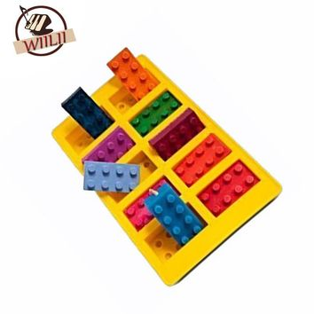WIILII Silicone Lego Blocks Shape Bake Mold For Cake Cookie Candy Chocolate Ice Cube Tray Cooking Baking Tools