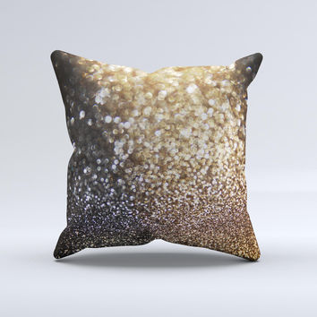 The Gold and Black Unfocused Glimmering RainFall ink-Fuzed Decorative Throw Pillow