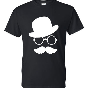 Mustache Guy Classic Mustache Top Hat Printed Graphic T Shirt Hot Seller Great Gift Idea Unisex Sizes All Colors Sized to 4XL