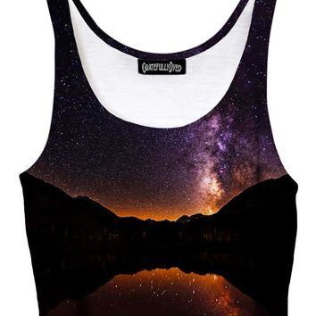 Starlit Valley Mountain Galaxy Crop Top