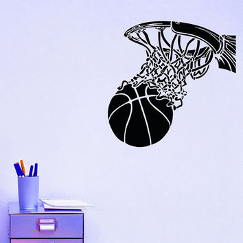 Basketball Hoop Sport Wall Decal Vinyl Sticker Ball Game Gym Wall Decor Home Interior Design Art Mural Boy Bedroom Dorm Z741
