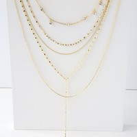 Celestica Gold Layered Rhinestone Star Drop Necklace