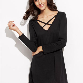 Black Long Sleeve Cross Strap Shift Mini Dress