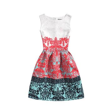 Summer dresses 2017 Girl Formal Dresses Printing Sleeveless Vest Dress Vestidos teens Party Clothes  Dresses 5-7-9-10-15-20 yrs