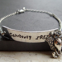 Name & Birthdate Bracelet with Indian Elephant Head, Engraved Name Jewelry, Ideal Birthday Gift