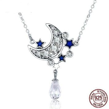 925 Sterling Silver Crescent Moon & Star Shimmering Crystal Pendant Necklace