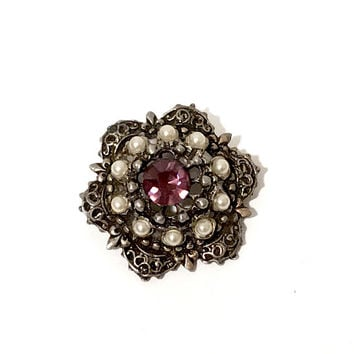 Vintage Victorian Revival Brooch Purple Amethyst Rhinestone  Faux Seed Pearls Repousse Mid Century  Scalloped Frame Gold Tone Vintage 1960s
