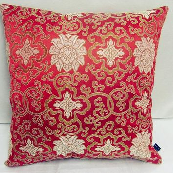 Big Floral Vintage decorative throw Pillows Silk Fabric Soft Square Colorful Seat Chair Bed Cushion 43x43 50x50 60x60cm