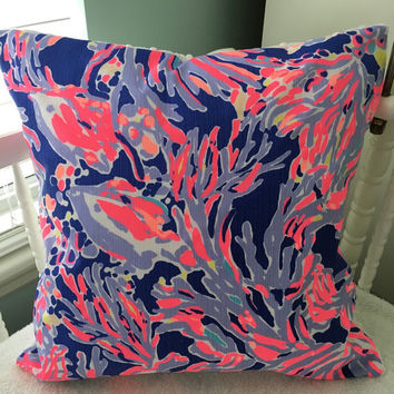 "Lilly Pulitzer Pillow ~ Lilly Pulitzer Decor ~ Lilly Pillow Cover ~ Dorm Pillow ~ Sunroom ~ Beach House ~ Shrimply Chic ~ 16"" x 16"""