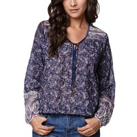 Billabong Desert Spell Boho Long Sleeve Shirt - Womens Shirts - Blue