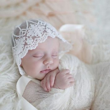 Newborn Photography Props Baby Lace Hat Solid Floral Cap Baby Bonnet Enfant Hats Photo Props