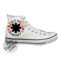 Red Hot Chili Peppers Rock Band Logo White shoes New Hot Shoes