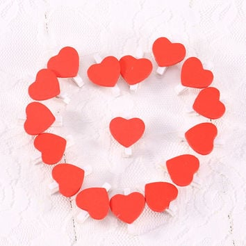 50pcs/lot Mini Romantic Love Heart Wooden Clips  DIY Clothes Clothespin Craft Clips Wooden Letters  Home Decor