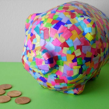 Party Pig Piggy Bank Colorful Confetti by PaisleyPinupsbyLeahE