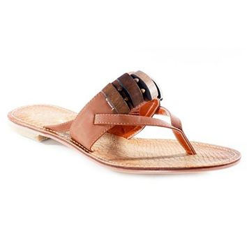 NOMI BEADED THONG SANDALS - CAMEL