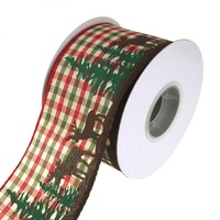 Moose Woods Country Gingham Wired Christmas Holiday Ribbon, 2-1/2-Inch, 10 Yards