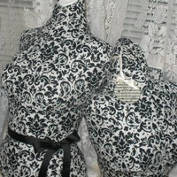 Boutique Black damask Dress form designs Life size torso apron, tutu display craft fair increase sales.