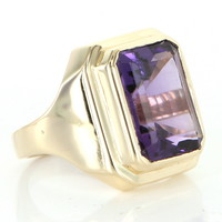 Vintage Mens Amethyst Dress Cocktail Ring 14 Karat Yellow Gold Estate Fine Jewelry 8