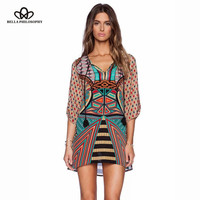 60's african dashiki women dress three quarter sleeve desigual print chiffon O-neck loose mini ethnic vintage dress