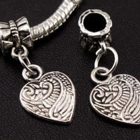 Silver Heart Dangle European Bracelet Bead