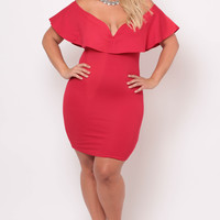 Plus Size Frill Bodycon Dress - Red