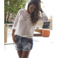 Floral Lace Summer Women's Fashion Long Sleeve Hollow Out Chiffon Blouse = 5861621953
