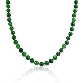 Ball Bead Strand Jade Pendant Long Necklace Sterling Silver 20 Inch