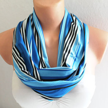 Infinity Scarf - Loop Scarf - Circle Scarf - Striped Scarf - Blue Striped